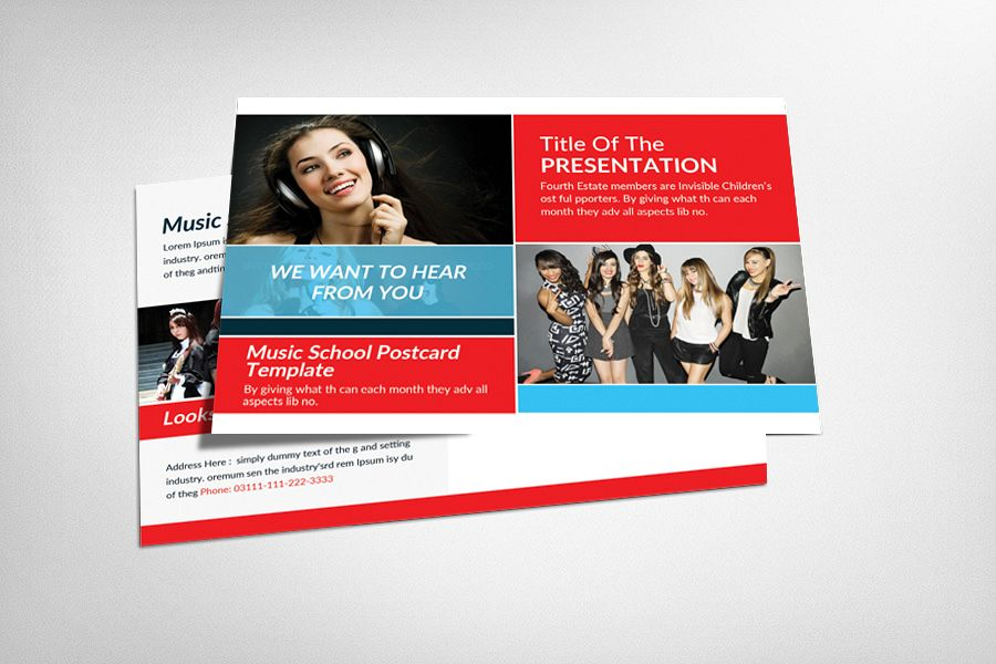 Music School Postcard Template example image 1