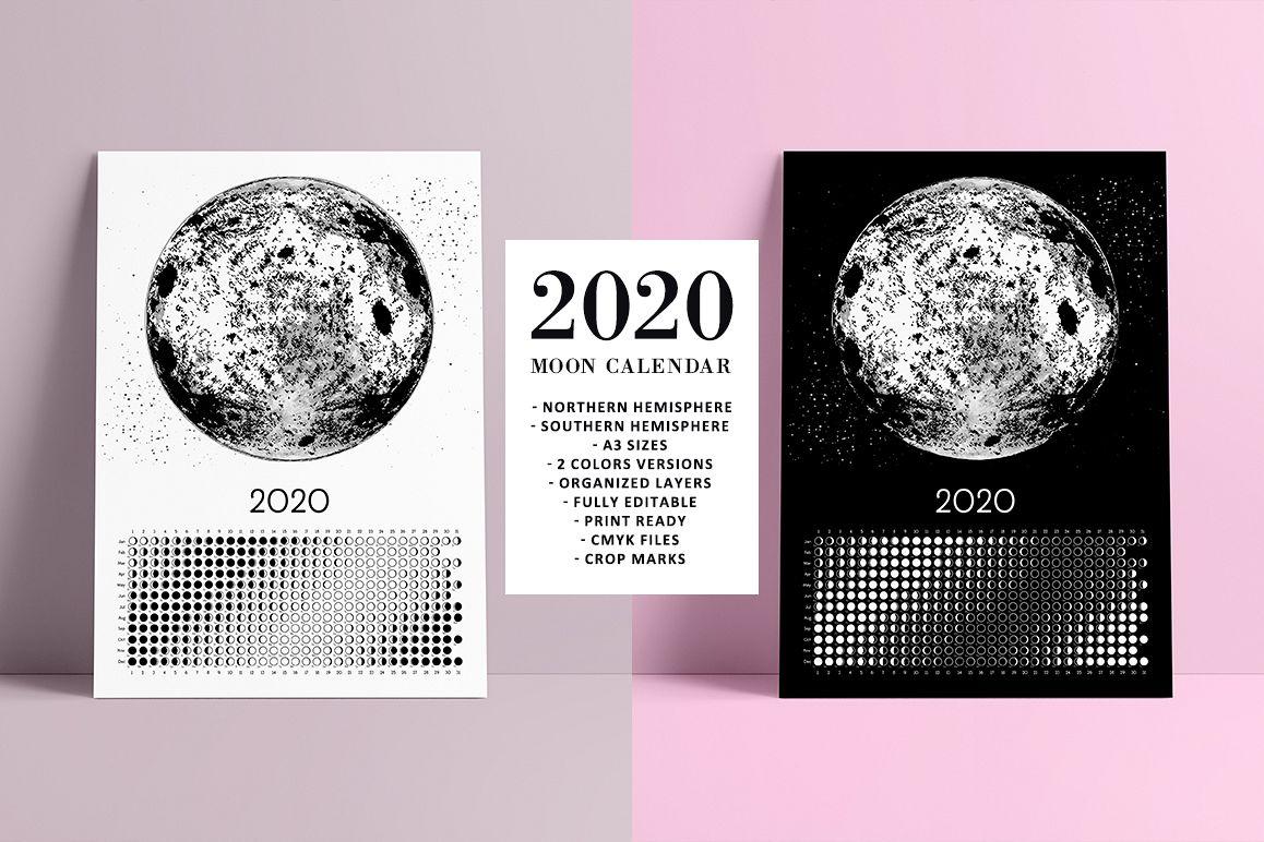 Moon Calendar 2020 Black & White example image 1