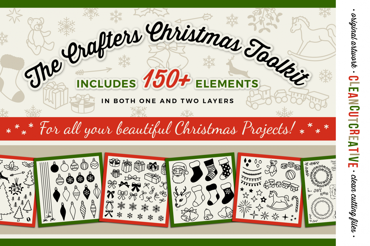 The Crafters Christmas Toolkit - 150+ Christmas Design Elements - SVG DXF EPS - Cricut & Silhouette - clean cutting files example image 1
