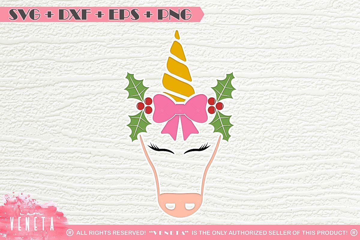 Christmas Bow Svg.Unicorn Christmas Bow Horn Svg Dxf Eps Cutting File