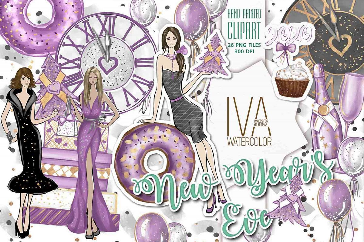 New Year's Eve Clipart, Fashion Illustration example image 1