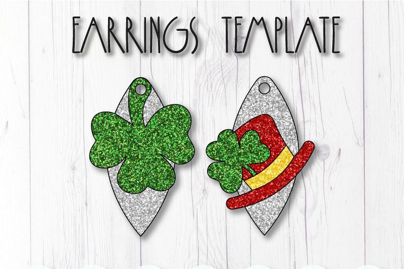 Clover earrings template SVG, DIY earrings template example image 1