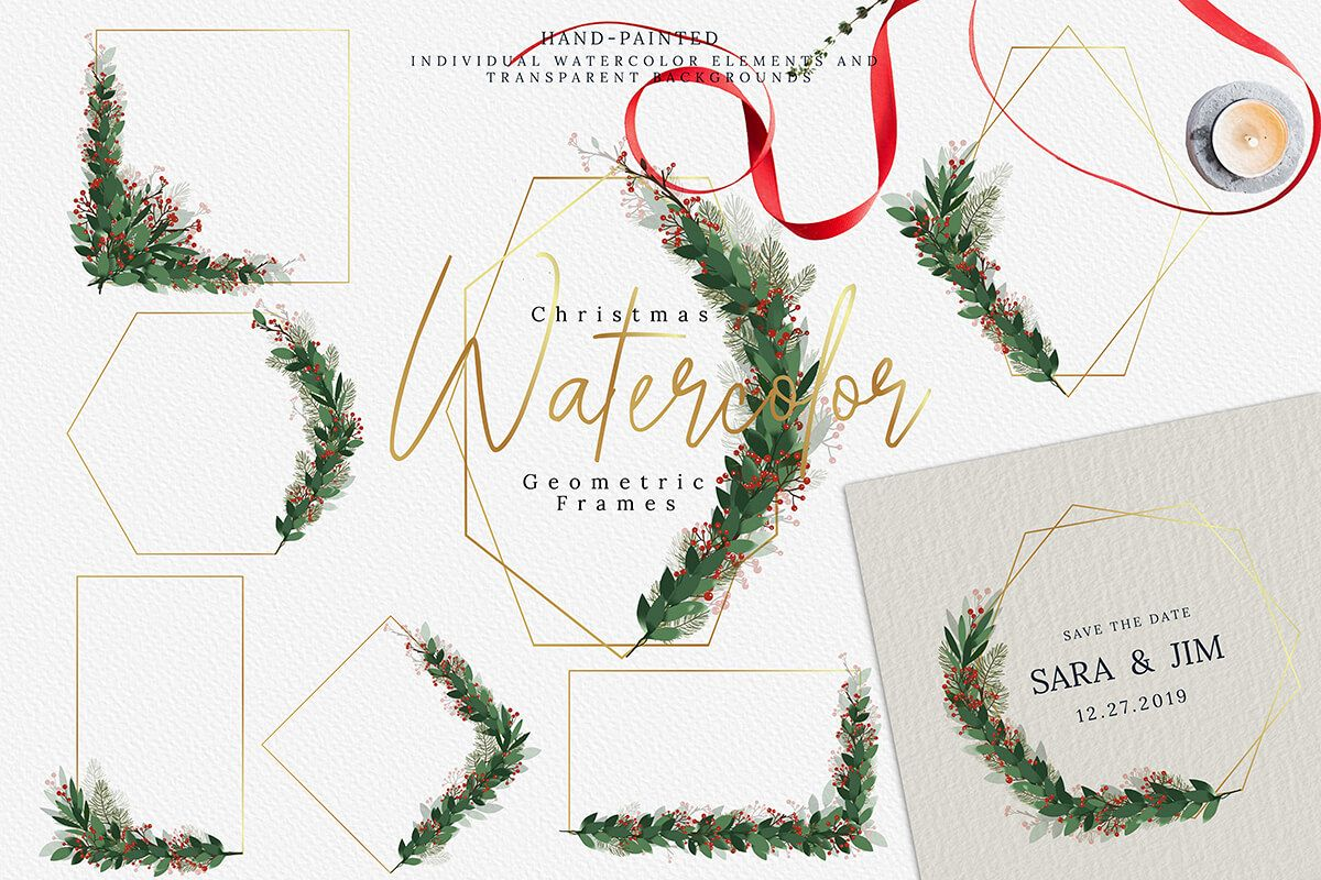 Christmas Watercolor Geometric Frames Collection example image 1