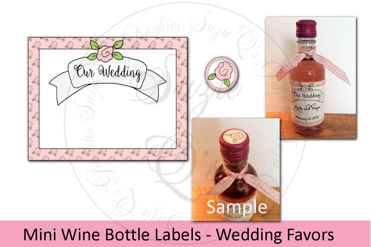 Mini Wine Bottle Labels - Wedding Favors example image 1