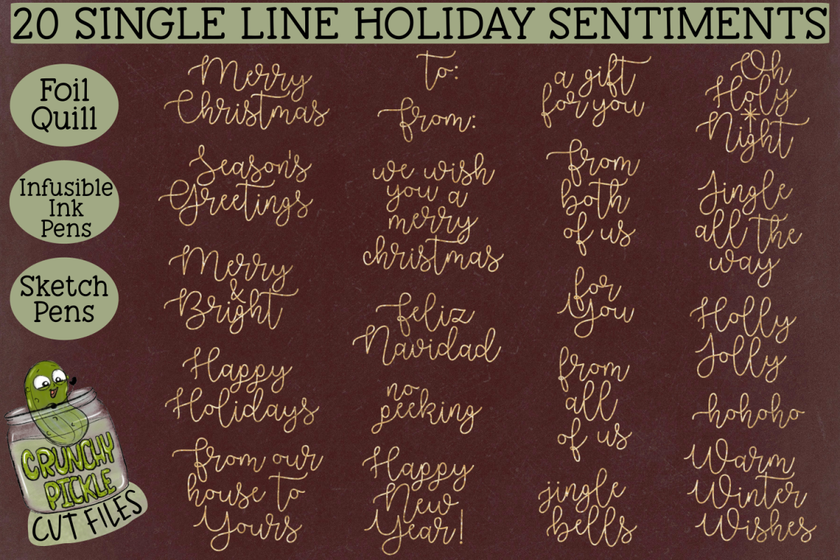 20 Foil Quill Christmas Sentiments set 1 / Single Line Sketc example image 1