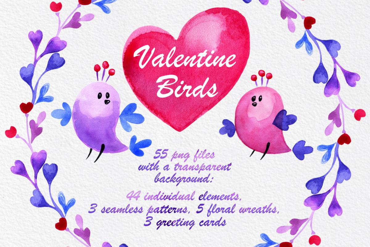 Valentine birds. Watercolor set. example image 1