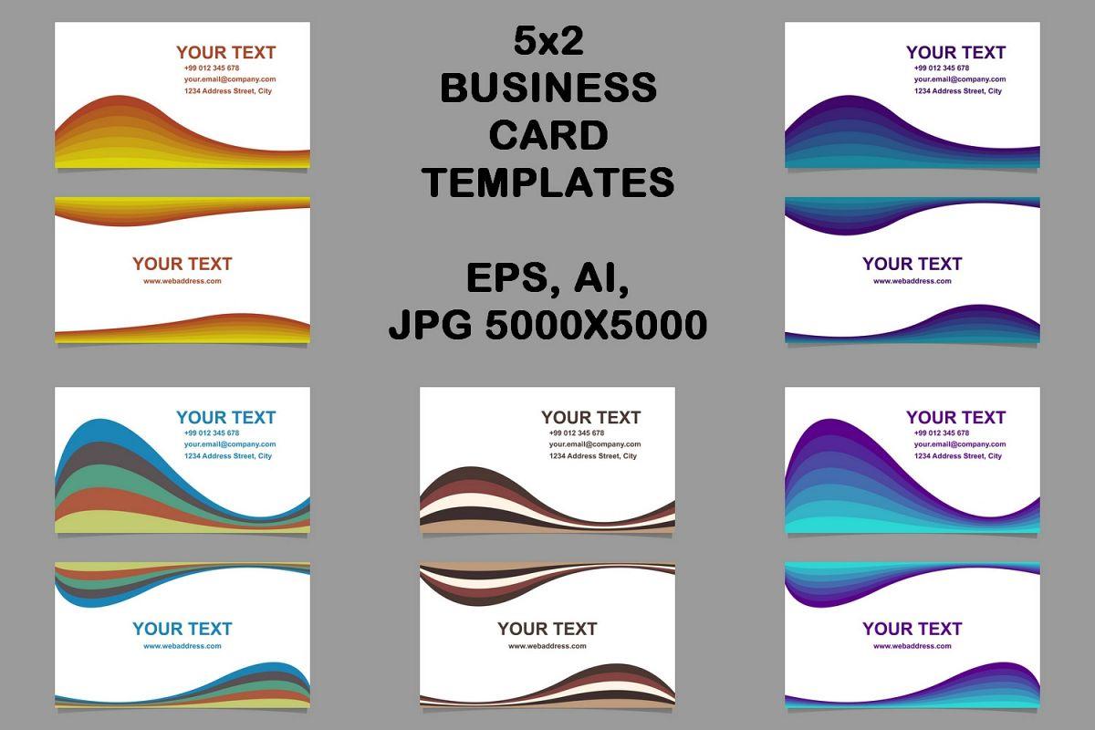 5x2 wavy business card templates (EPS, AI, JPG 5000x5000) example image 1