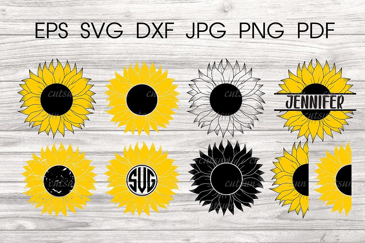 Sunflower SVG bundle   Floral bundle SVG example image 1
