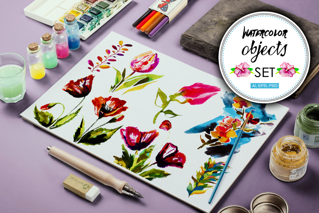 30 Watercolor vector objects + BONUS example image 1