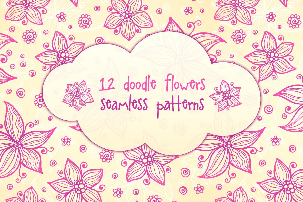 12 vector flowers seamless patterns example image 1