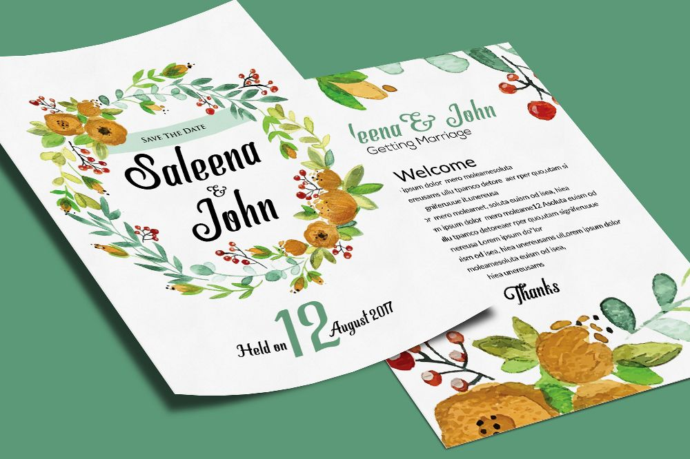 Double Sided Floral Wedding Invitation Card example image 1