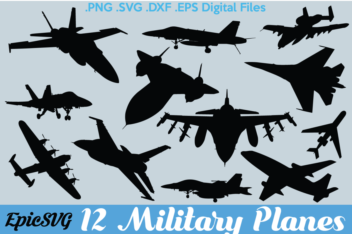 12 Military Planes Svg Pdf Eps Dxf Png Clipart Vector