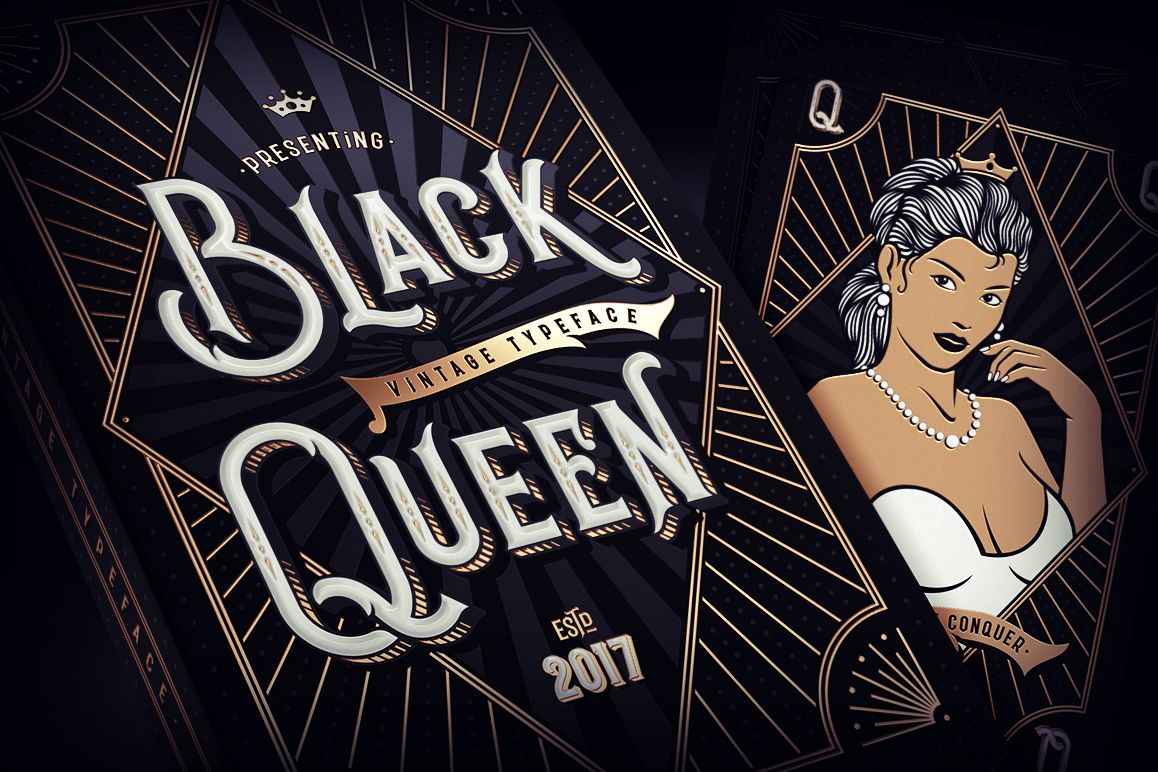 Black Queen font & bonus graphics example image 1