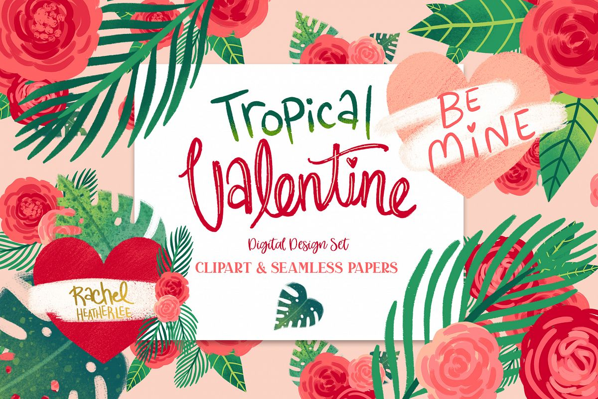 Tropical Valentine Clipart & Patterns example image 1