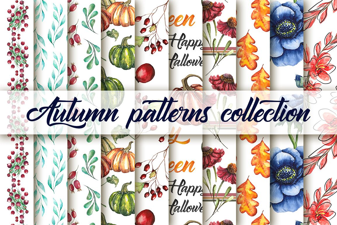 Watercolor collection of 20 autumn seamless patterns example image 1
