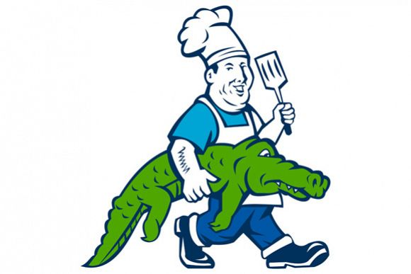 Chef Alligator Spatula Walking Cartoon example image 1