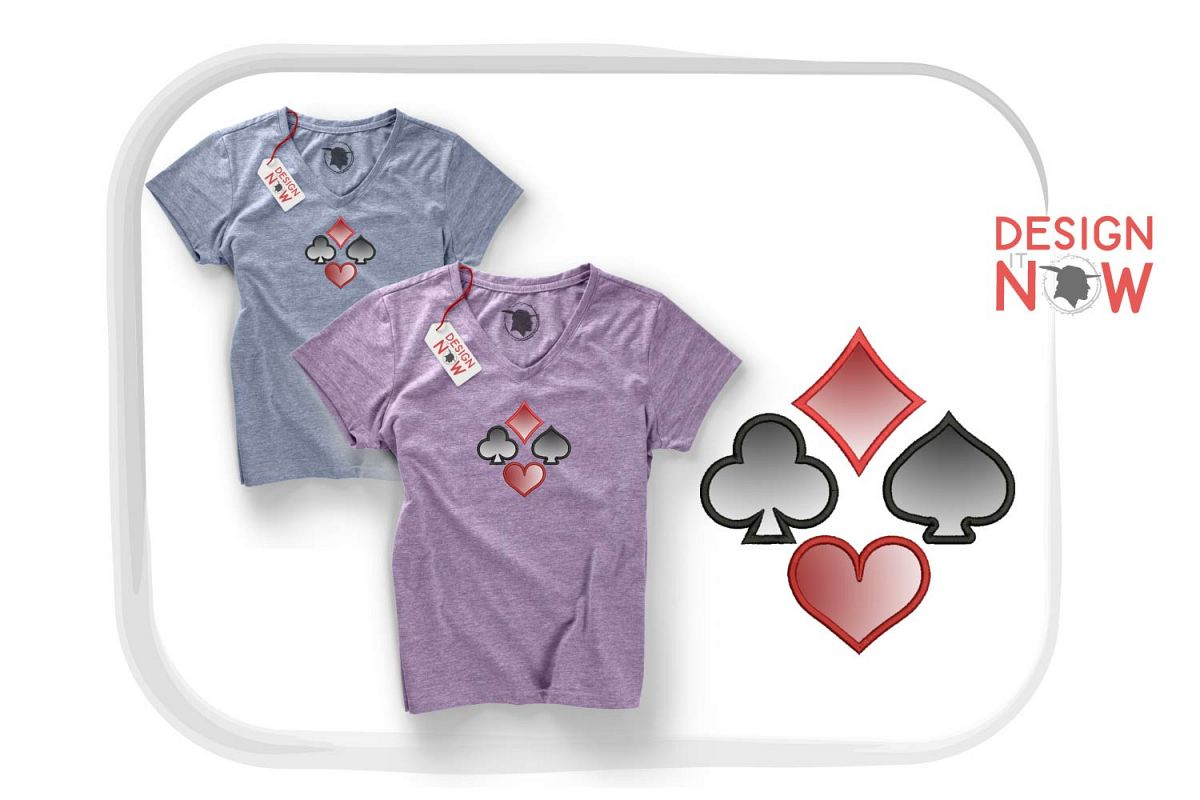 Playing Cards Applique Design, Symbols Embroidery Design example image 1