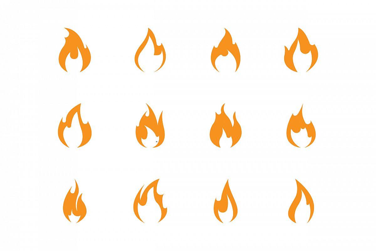 Vector Logo Set With Fire Vector Symbols