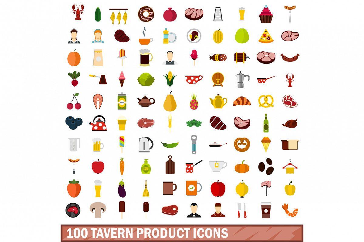 100 tavern product icons set, flat style example image 1