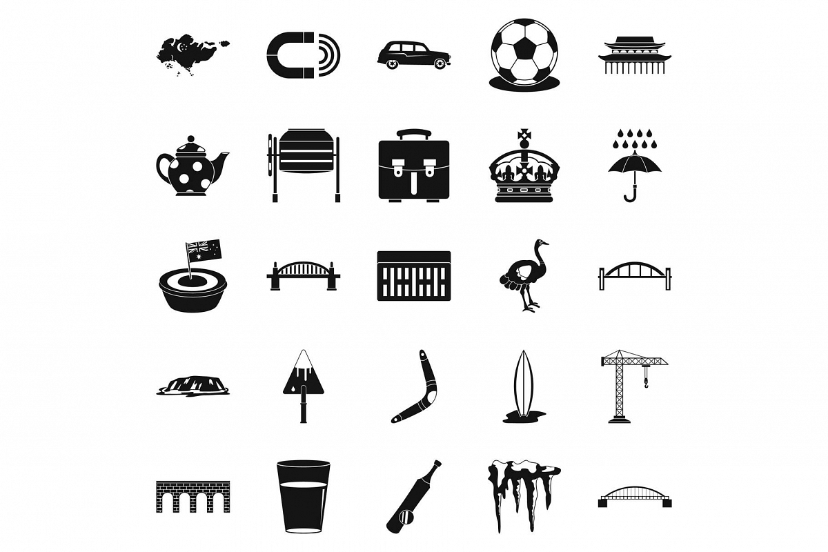 Relocation icons set, simple style example image 1