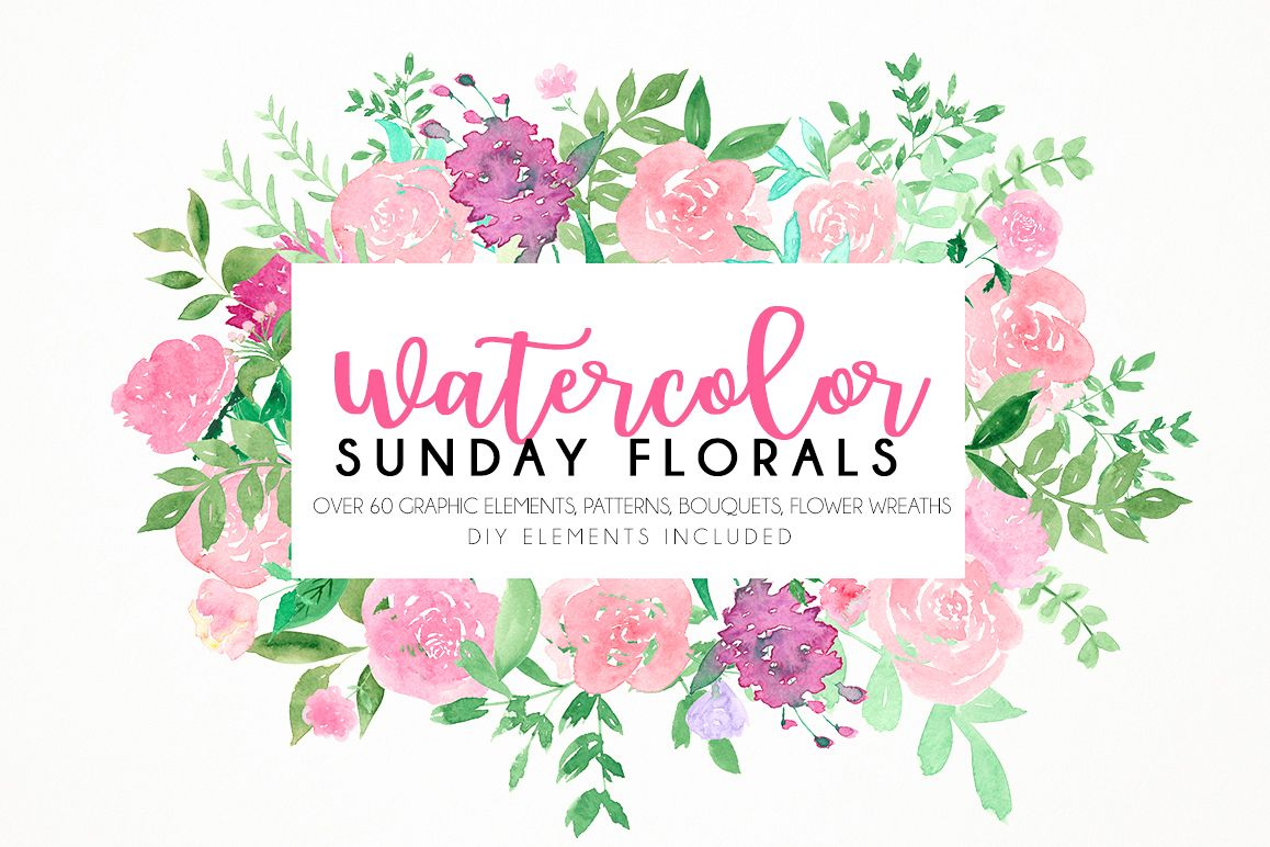 Watercolor Sunday florals example image 1