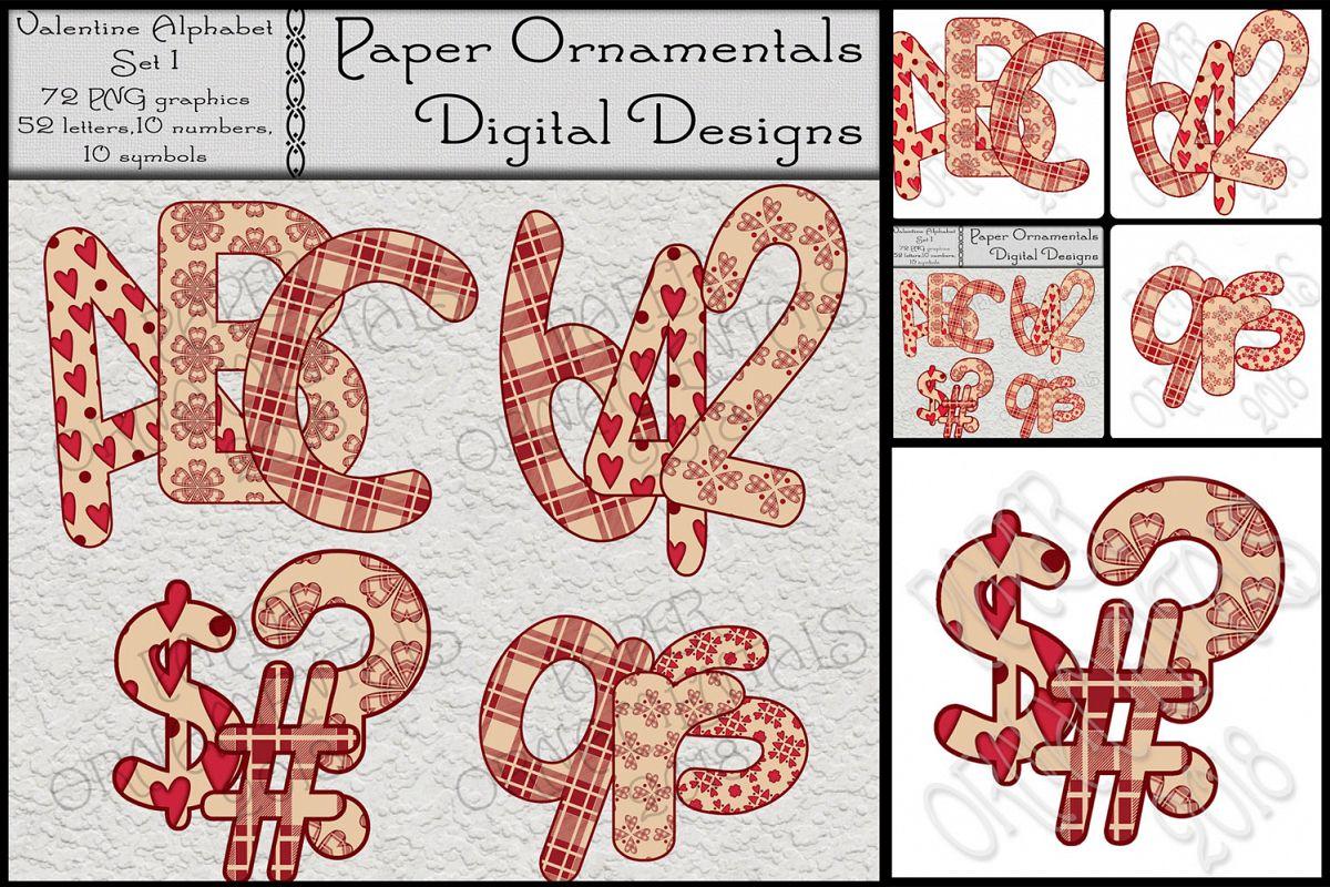 Clip Art Valentine Red Tan Alphabet Set 1