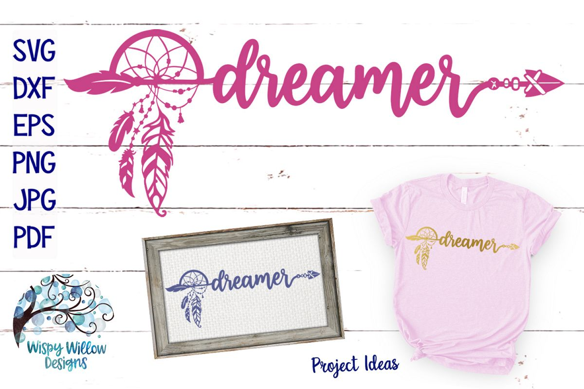 Dreamer SVG | Boho Feather Dream Catcher SVG Cut File example image 1