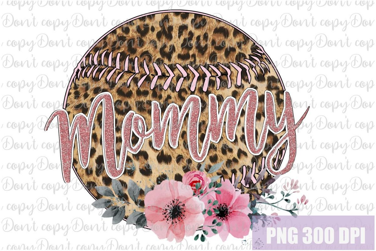 Baseball leopard ball Mommy with Flowers Sublimation PNG example image 1