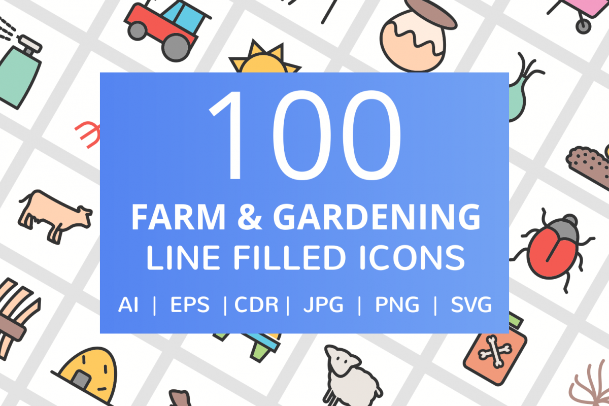 100 Farm & Gardening Filled Line Icons example image 1