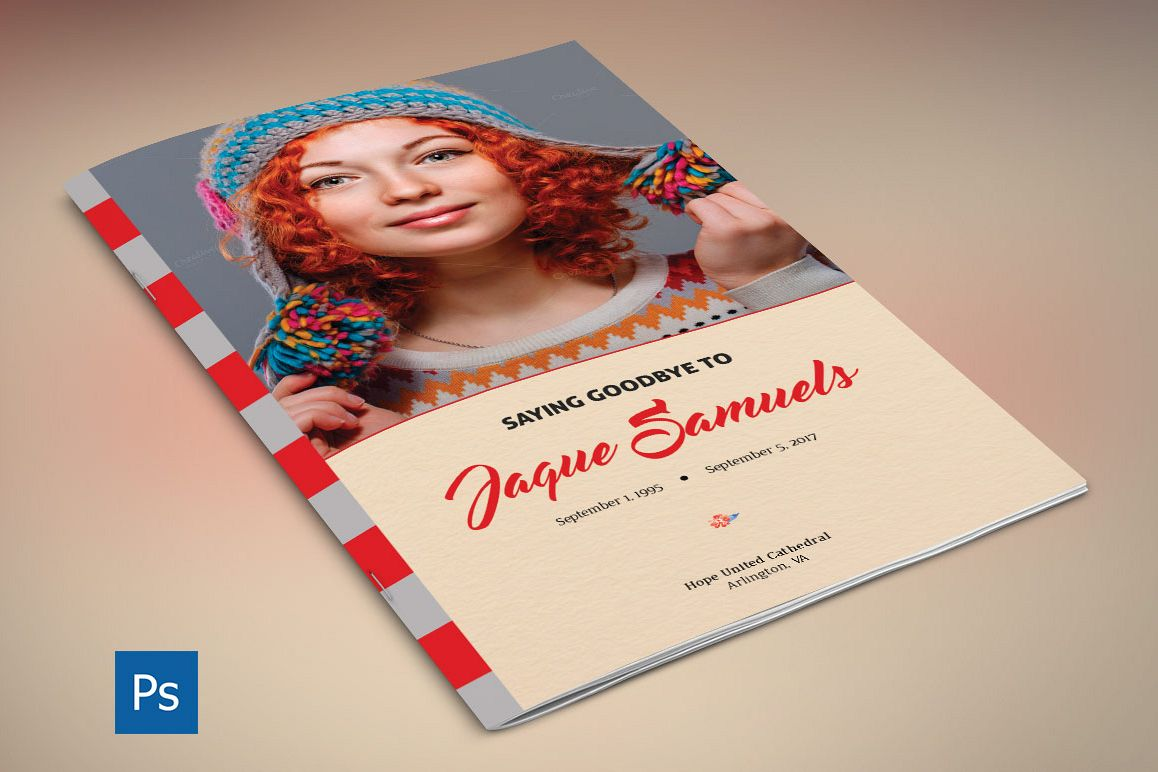 Goodbye Funeral Program PSD Template