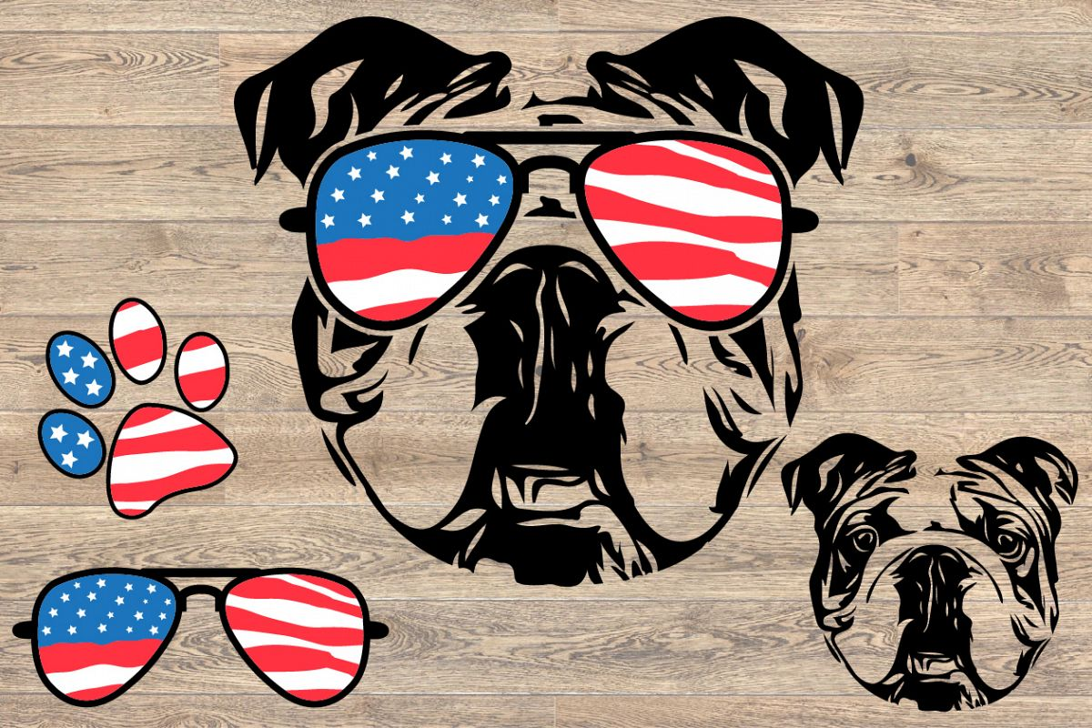 Bulldog Usa Flag Glasses Paw Head French Dog 4th July 846s