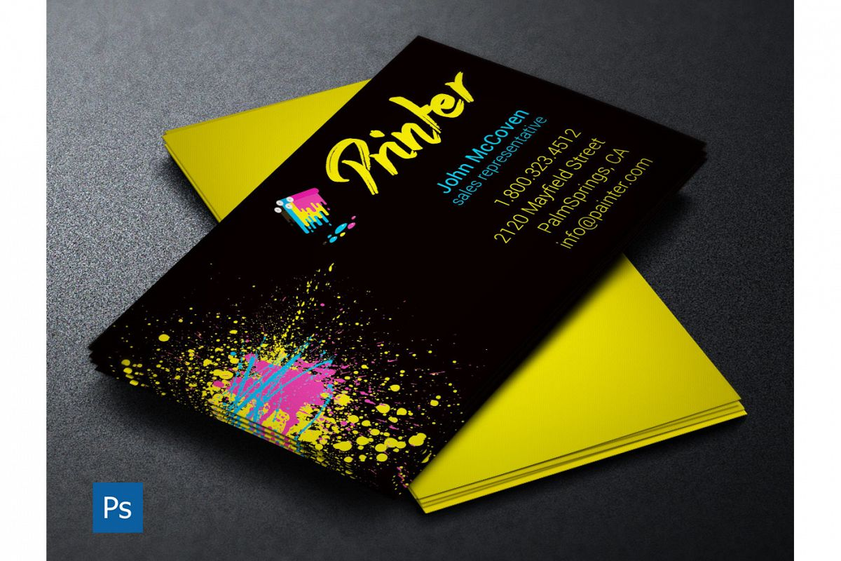 Printer business card psd template accmission