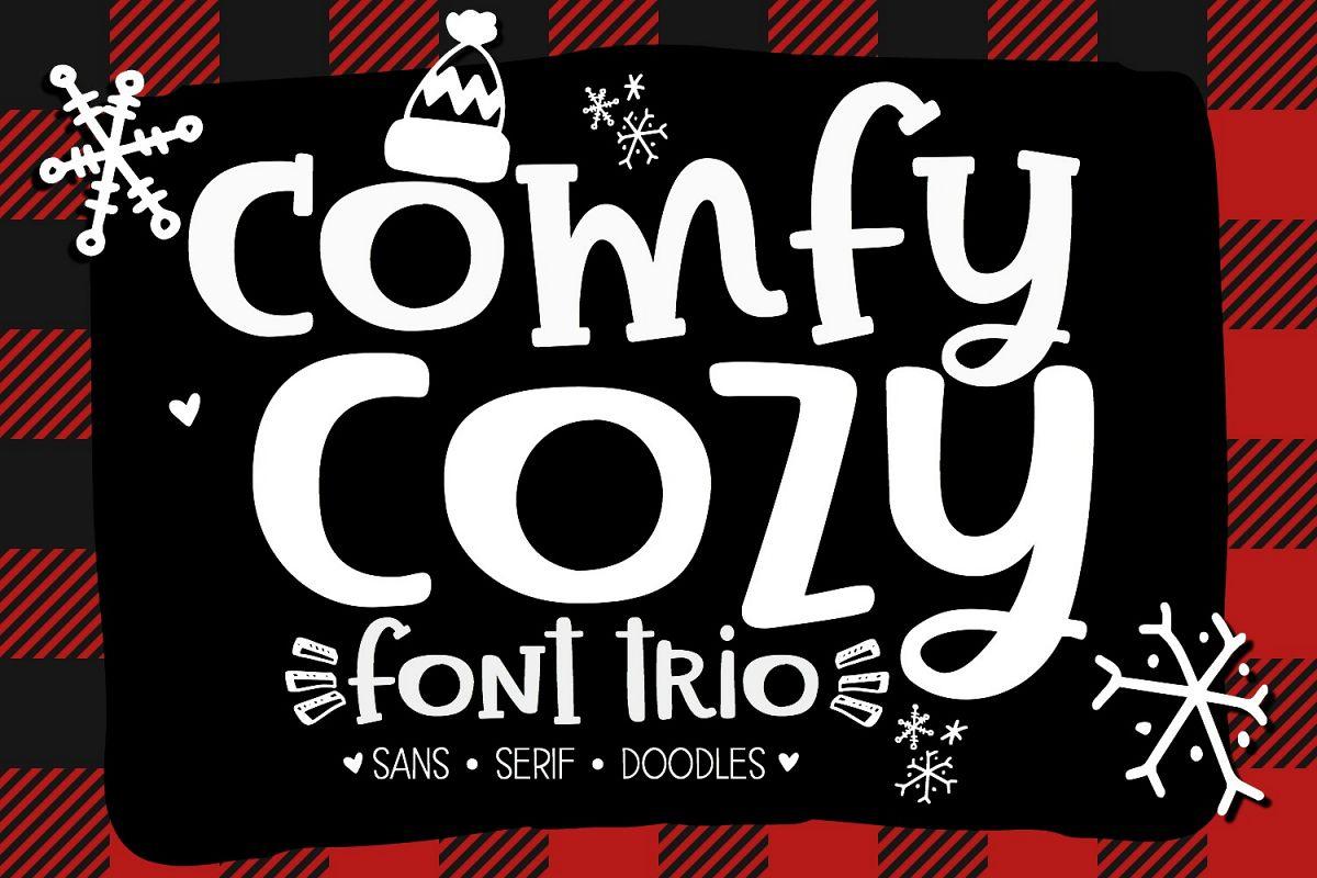 Comfy Cozy Font Trio- Sans, Serif & Doodle Font Bundle example image 1