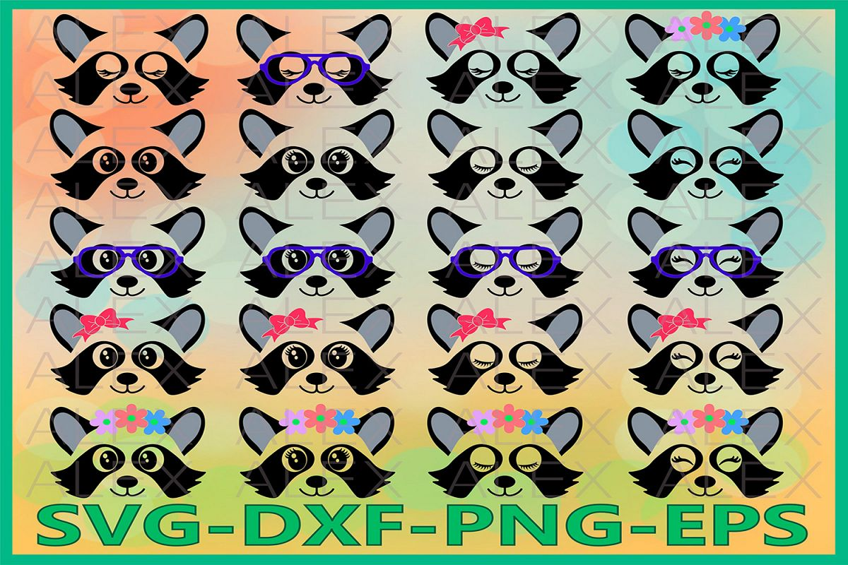 Raccoon Svg, Animal face svg, Raccoon Face Svg example image 1
