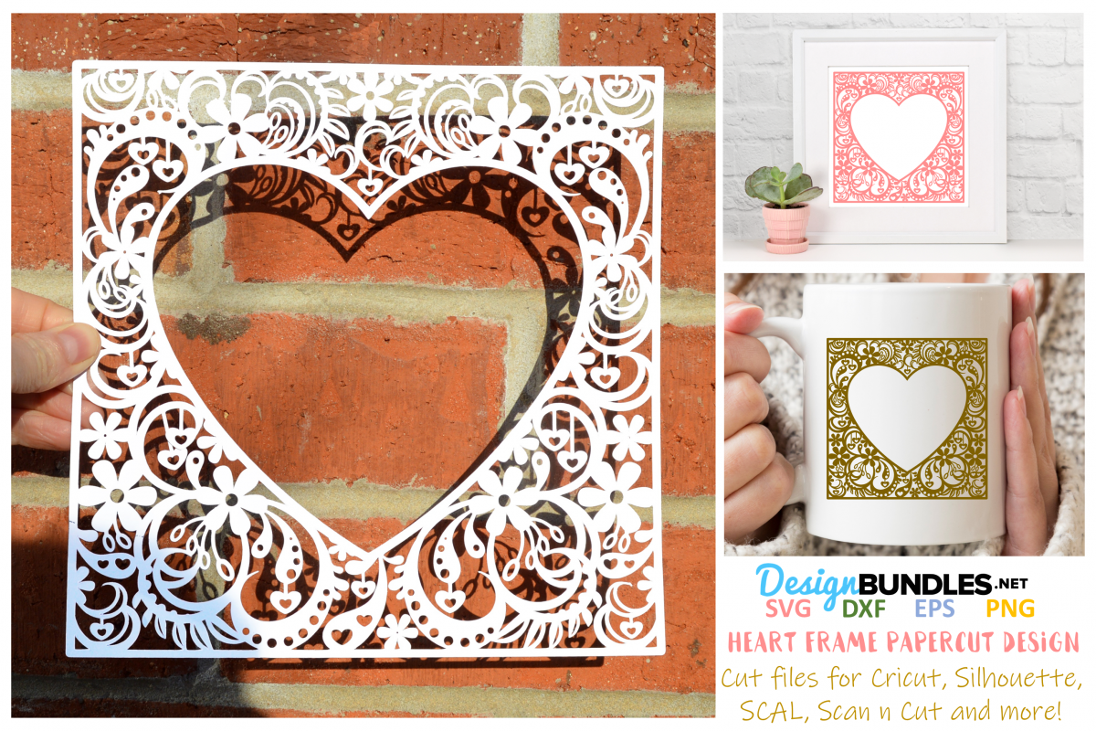 Heart frame paper cut design example image 1