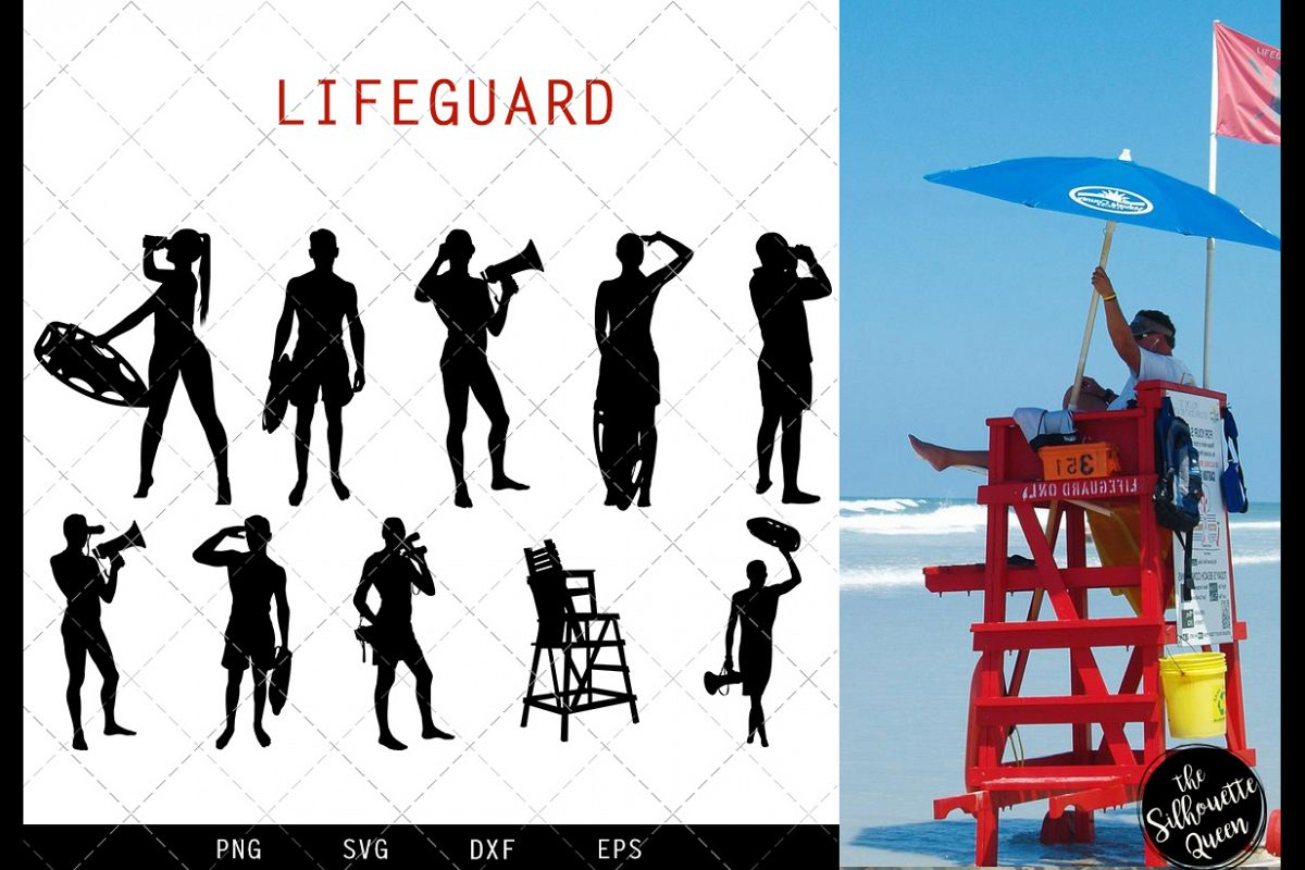 Lifeguard svg file, beach guard svg cut file example image 1