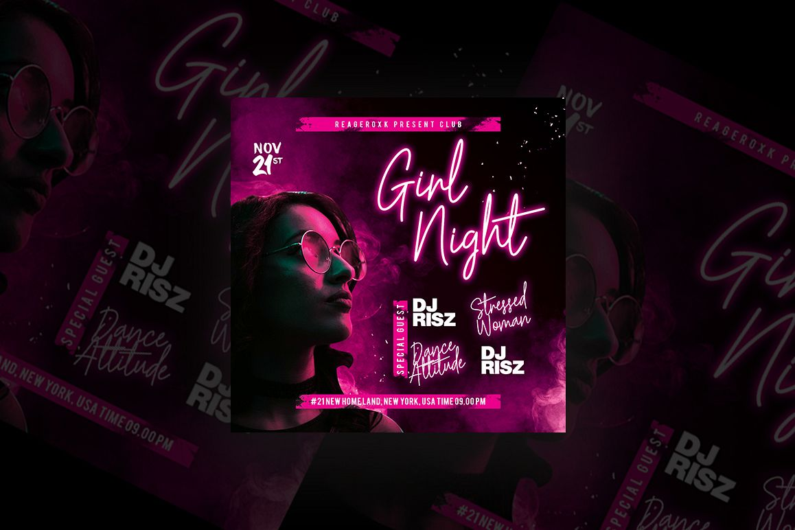 Girl Night Party Flyer example image 1