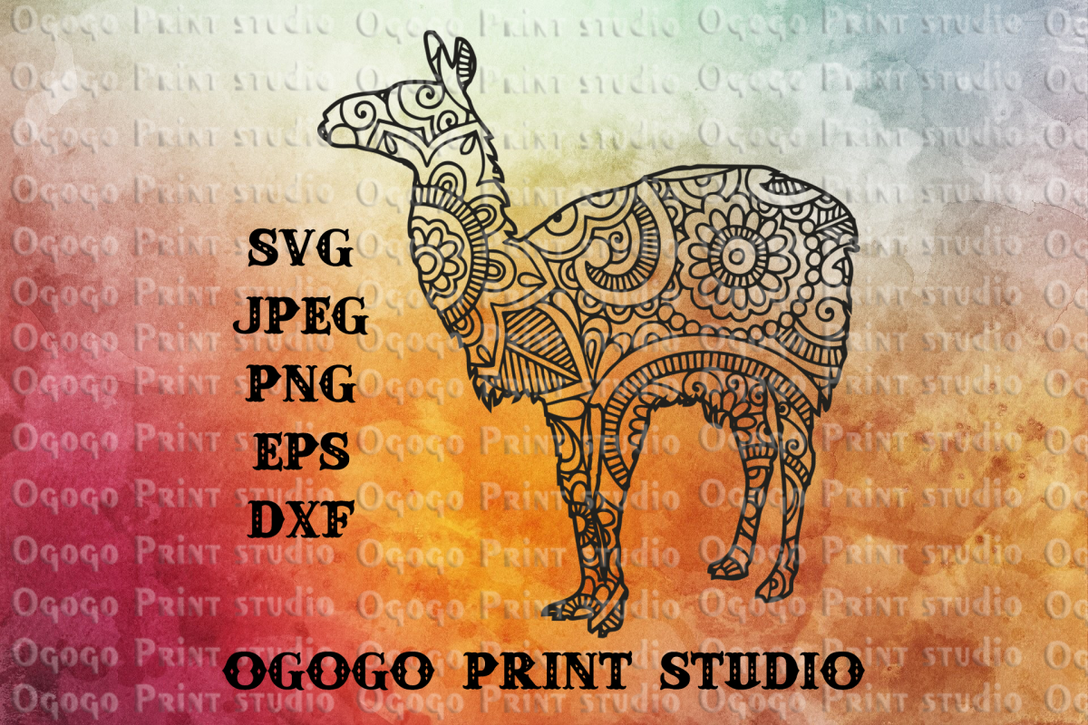 Llama SVG, Zentangle SVG, Mandala svg, Animal svg,Mama Llama example image 1