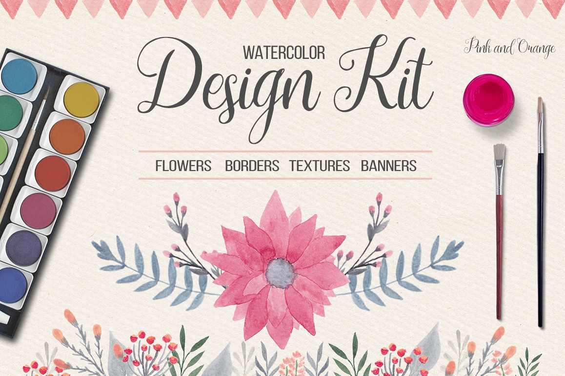 Watercolor Design Kit example image 1