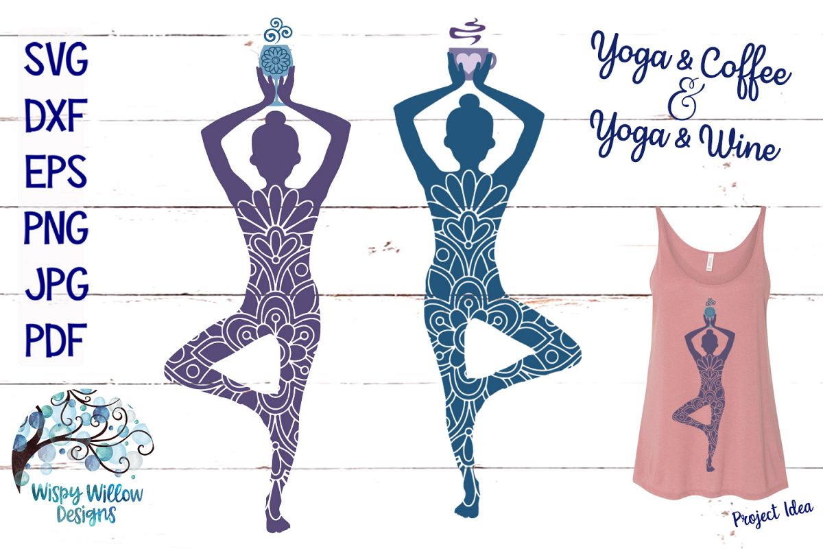 Yoga And Wine, Yoga and Coffee, SVG Cut File example image 1