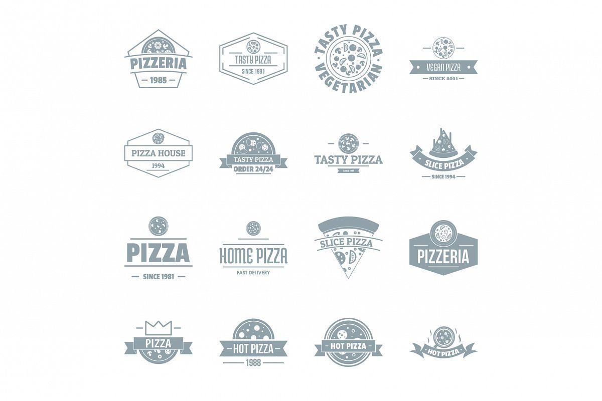 Pizzeria logo icons set, simple style example image 1