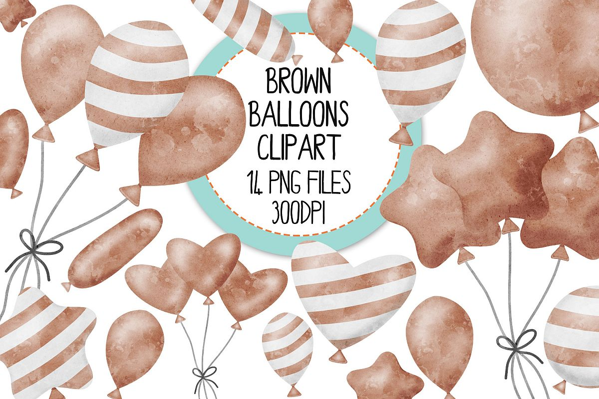 Brown Watercolor Balloon Clipart Set example image 1