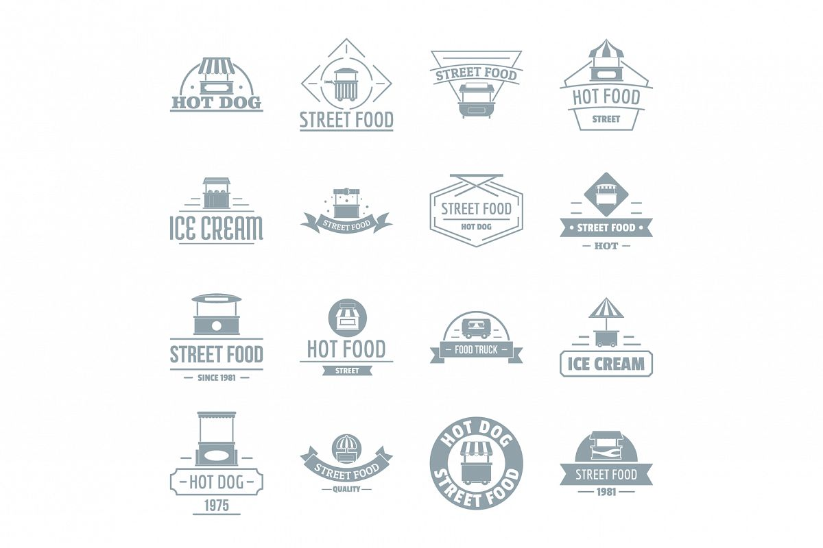 Street food logo icons set, simple style example image 1
