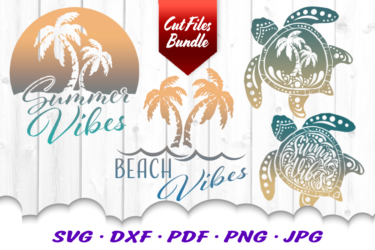 Palm Beach Summer Vibes Turtle SVG DXF Cut Files Bundle example image 1