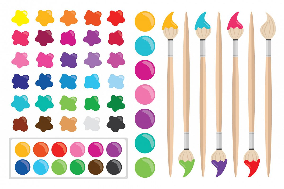 Paint Brush & Palette Graphic Set example image 1