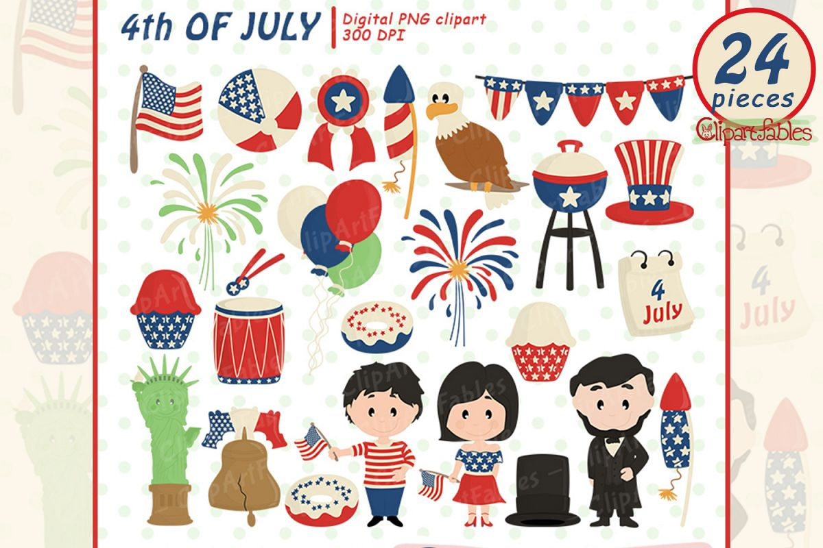 Happy INDEPENDENCE Day clipart, 4th of JULY clipart, USA art example image 1