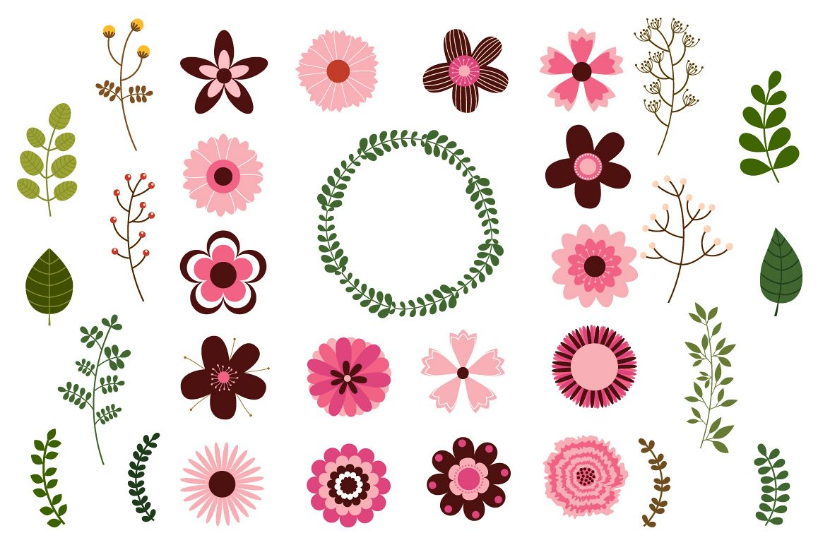Pink Wedding Flowers Clipart Mod Retr Design Bundles