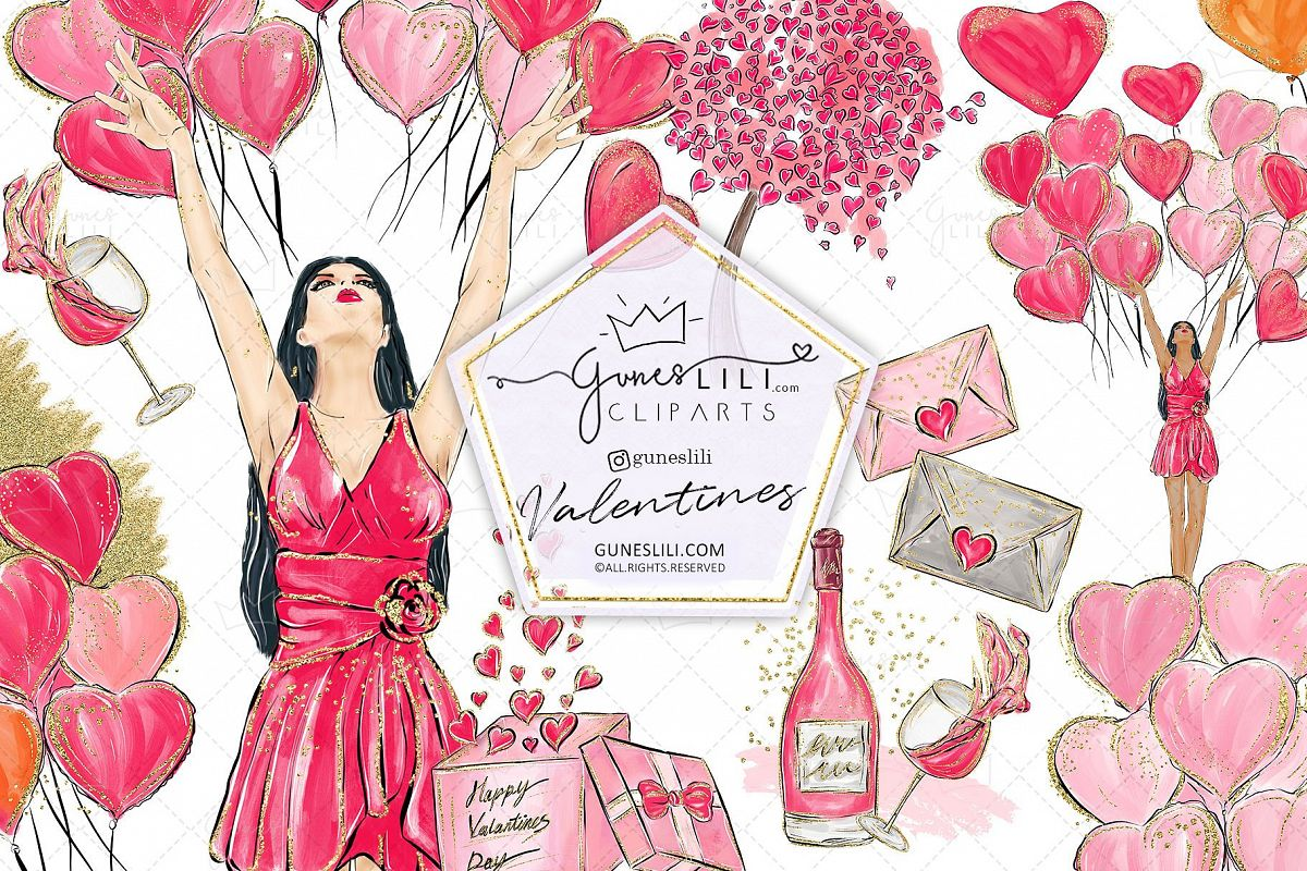 Cute Valentine Clipart Valentines Day Clipart Scrapbooking example image 1