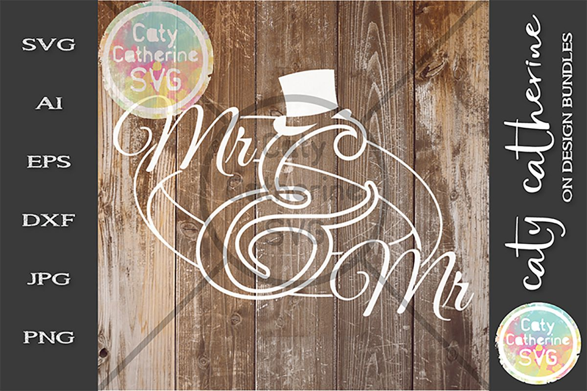 Mr & Mrs Wedding Ring Top Hat SVG Cut File example image 1