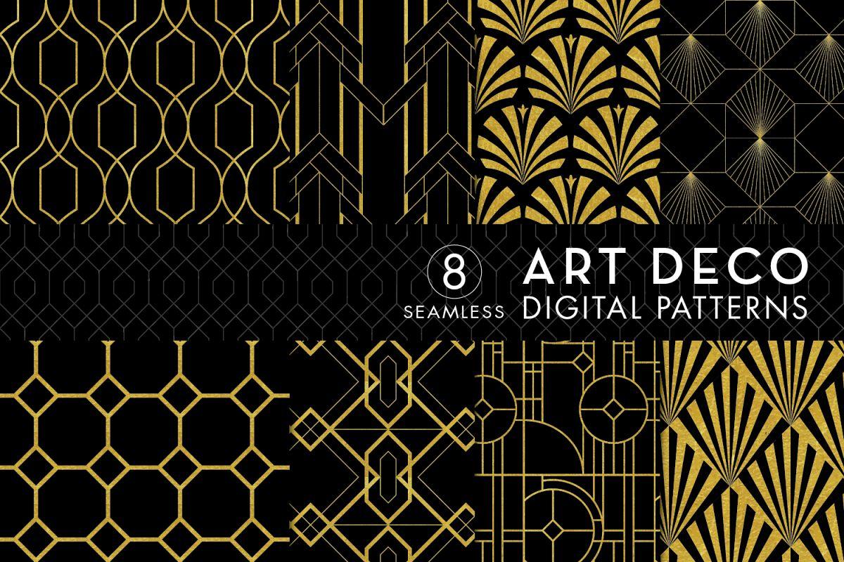 8 Seamless Art Deco Patterns - Black & Gold Set 2 example image 1